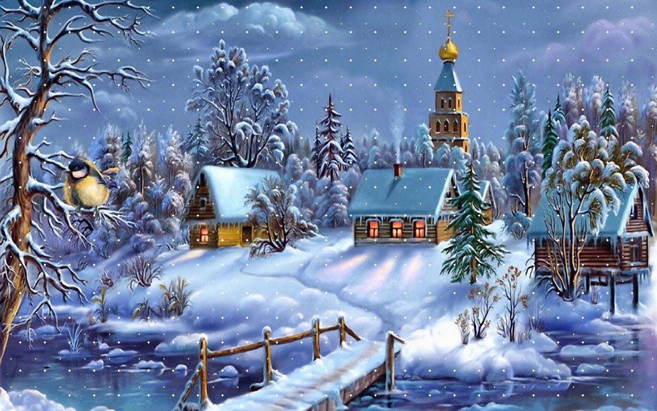 Free-Snowy-Christmas-Village-Wallpapers
